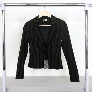 NWT H&M Divided Black Brown Striped Blazer